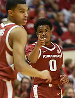 NWA Democrat-Gazette/CHARLIE KAIJO Arkansas Razorbacks guard Desi Sills (0) gestures during the first half of the NCAA National Invitation Tournament, Saturday, March 23, 2019 at the Simon Skjodt Assembly Hall at the University of Indiana in Bloomington, Ind. The Arkansas Razorbacks fell to the Indiana Hoosiers 63-60.