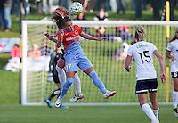 Boyds, MD - Saturday May 14, 2016: Houston Dash midfielder Andressa Machry (17) goes for a header with Washington Spirit defender Victoria Huster (23) during a regular season National Women's Soccer League (NWSL) match at Maureen Hendricks Field, Maryland SoccerPlex. The Washington Spirit defeated the Houston Dash 1-0.