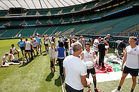 Photo: Richard Lane/Richard Lane Photography. .Emirates Airline Media training day with the England Sevens team at Twickenham. 13/05/2011. England Sevens training.