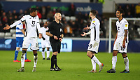 11th February 2020; Liberty Stadium, Swansea, Glamorgan, Wales; English Football League Championship, Swansea City versus Queens Park Rangers; Swansea City players appeal Referee Andy Woolmer's decision