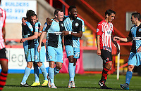 GOAL CELEBRATIONS for Joe Jacobson of Wycombe Wanderers during the Sky Bet League 2 match between Exeter City and Wycombe Wanderers at St James' Park, Exeter, England on 26 September 2015. Photo by Pinnacle Photo Agency.