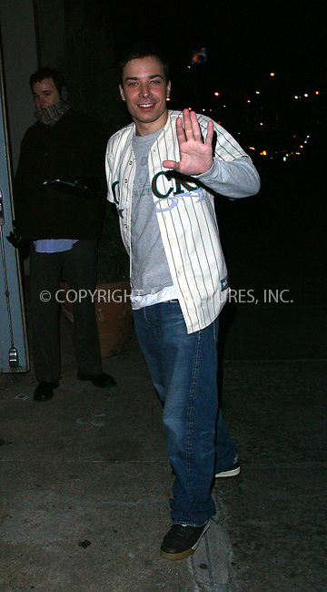 "SNL star Jimmy Fallon arrives at a downtown restaurant for the ""Saturday Night Live"" after-party. New York, January 11, 2003. Please byline: Alecsey Boldeskul/NY Photo Press.   ..*PAY-PER-USE*      ....NY Photo Press:  ..phone (646) 267-6913;   ..e-mail: info@nyphotopress.com"
