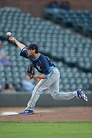 Myrtle Beach Pelicans starting pitcher Thomas Hatch (19) delivers a pitch to the plate against the Winston-Salem Dash at BB&T Ballpark on May 11, 2017 in Winston-Salem, North Carolina.  The Pelicans defeated the Dash 9-7.  (Brian Westerholt/Four Seam Images)