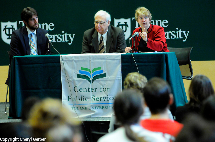 Tulane students listen to panel discussion featuring Wendy Spencer, CEO of the Corporation for National and Community Service, Tulane President Scott Cowen and Jon Skvarka about national and community service