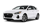 Stock pictures of low aggressive front three quarter view of a 2018 Hyundai Elantra GT GT Auto 5 Door Hatchback