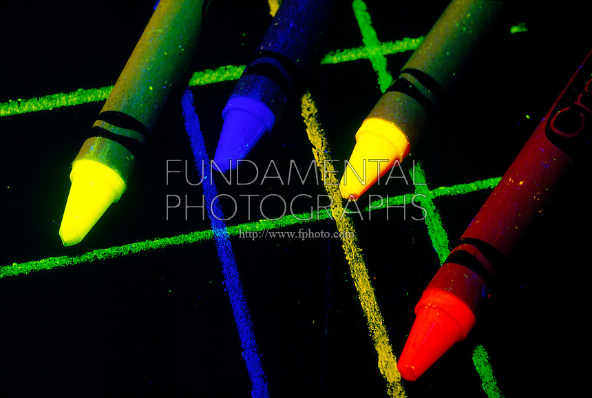 FLUORESCENT CRAYONS under UV Light <br /> A Form Of Luminescence<br /> Luminescence caused by the absorption of radiant energy (such as UV light) and ceases as soon as the radiation causing it ceases is known as fluorescence.