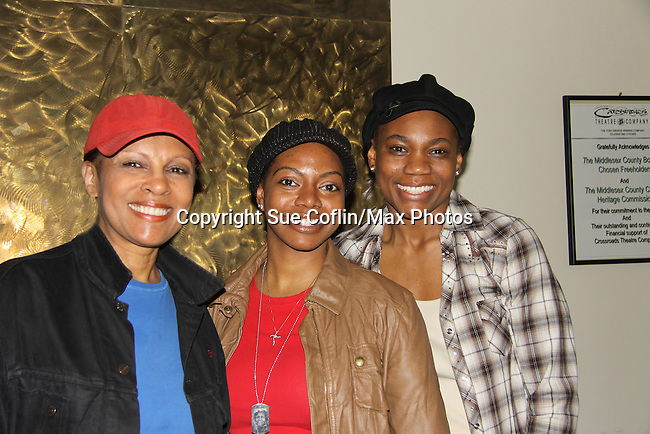 """Guiding Light """"Vivian Grant"""" and Another World Petronia Paley stars along with Vichelle Jones and Chantal Jean-Pierre (R) (was on AMC as """"Erika Kane's therapist and OLTL) in """"A Raisin in the Sun"""" on April 30, 2011 at the Crossroads Theatre, New Brunswick, New Jersey. (Photo by Sue Coflin/Max Photos)"""