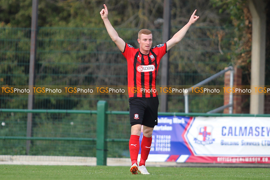 Sam Bantick of Coggeshall scores his third  goal and celebrates during Romford vs Coggeshall Town, Bostik League Division 1 North Football at Rookery Hill on 13th October 2018