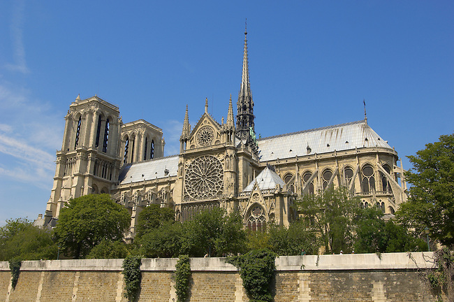 Paris - France - Notre Dame - side of building from The Seine