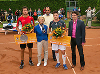 August 17, 2014, Netherlands, Raalte, TV Ramele, Tennis, National Championships, NRTK, Mens Final : l.t.r., Jasper Smit (NED) winner, Marga Bongers, Floris Kilian, Nick van der Meer and Guus van Berkel<br /> Photo: Tennisimages/Henk Koster