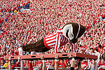 MADISON, WI - SEPTEMBER 29: Mascot Bucky Badger of the Wisconsin Badgers does pushups during the game against the Michigan State Spartans at Camp Randall Stadium on September 29, 2007 in Madison, Wisconsin. The Badgers beat the Spartans 37-34. (Photo by David Stluka)