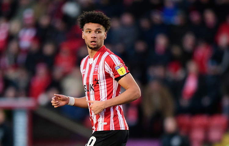 Lincoln City's Lee Angol<br /> <br /> Photographer Chris Vaughan/CameraSport<br /> <br /> The EFL Sky Bet League Two - Lincoln City v Northampton Town - Saturday 9th February 2019 - Sincil Bank - Lincoln<br /> <br /> World Copyright &copy; 2019 CameraSport. All rights reserved. 43 Linden Ave. Countesthorpe. Leicester. England. LE8 5PG - Tel: +44 (0) 116 277 4147 - admin@camerasport.com - www.camerasport.com