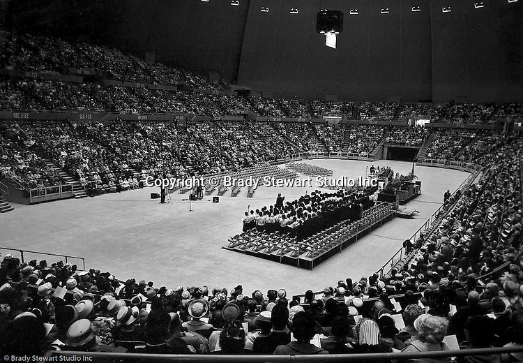 Pittsburgh PA:  View of the choir and attendees at the annual Easter Sunrise Services held at the Civic Arena - 1962.  The Council of Churches staged the event that included members of local Catholic, Presbyterian, Lutheran, Baptist and other denominations in the Pittsburgh Area.  This year the the roof was not opened due to weather.<br />