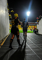 Chiefs co-captains Charlie Ngatai (left) and Sam Cane lead their teams out for the Super Rugby match between the Hurricanes and Chiefs at Westpac Stadium in Wellington, New Zealand on Friday, 13 April 2018. Photo: Dave Lintott / lintottphoto.co.nz