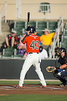 Brian Schales (43) of the Greensboro Grasshoppers at bat against the Kannapolis Intimidators at CMC-Northeast Stadium on June 11, 2015 in Kannapolis, North Carolina.  The Intimidators defeated the Grasshoppers 7-6.  (Brian Westerholt/Four Seam Images)