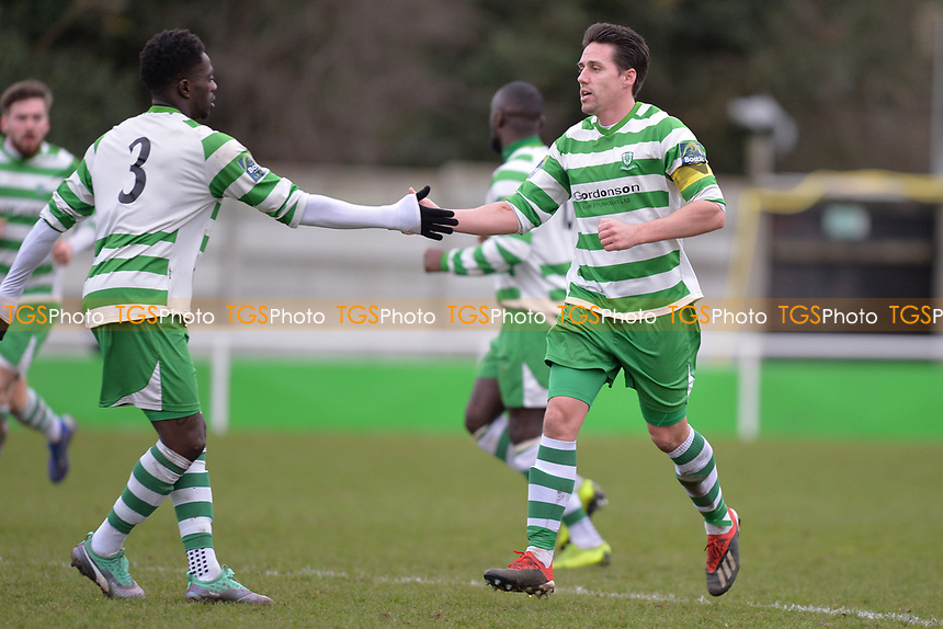 Billy Holland Of Waltham Abbey scores there first goal making it 1-2  during Waltham Abbey vs Bracknell Town, Bostik League South Central Division Football at Capershotts on 9th February 2019