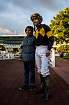 MAR 07: Umberto Rispoli poses with a fan at Santa Anita Park in Arcadia, California on March 7, 2020. Evers/Eclipse Sportswire/CSM