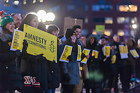 "Protesters gather in Union Square Park in New York on Friday, February 3, 2017 to show their displeasure with President Donald Trump's executive orders relating to a ban on Muslims entering the country and his plans to build a wall between the U.S. and Mexico. The action, organized by Amnesty International, had the group line up and form a ""human wall"" in the park as they chanted and held signs.  (© Richard B. Levine)"