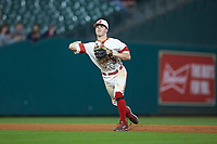 Hayden Cantrelle (5) of the Louisiana Ragin' Cajuns makes a play against the Mississippi State Bulldogs in game three of the 2018 Shriners Hospitals for Children College Classic at Minute Maid Park on March 2, 2018 in Houston, Texas.  The Bulldogs defeated the Ragin' Cajuns 3-1.   (Brian Westerholt/Four Seam Images)