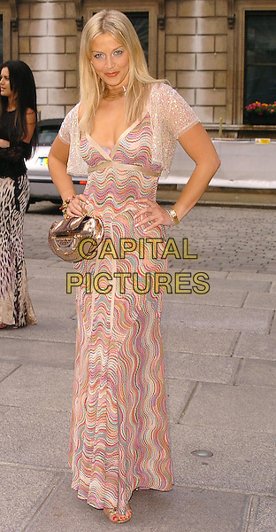 LIZ FULLER.Royal Academy Summer Exhibition 2005 - Preview Party, Royal Academy of Arts, London, W1, .June 2nd 2005..full length missoni dress cape shrug hands on hips gold bag sequined top.Ref: CAN.www.capitalpictures.com.sales@capitalpictures.com.©Can Nguyen/Capital Pictures