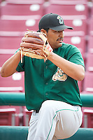 Clinton LumberKings pitcher Joshua Corrales #10 during practice before a Midwest League game against the Kane County Cougars at Fifth Third Ballpark on August 16, 2012 in Geneva, Illinois.  Kane County defeated Clinton 5-3.  (Mike Janes/Four Seam Images)