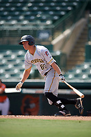 Pittsburgh Pirates Logan Hill (65) at bat during an Instructional League game against the Baltimore Orioles on September 27, 2017 at Ed Smith Stadium in Sarasota, Florida.  (Mike Janes/Four Seam Images)