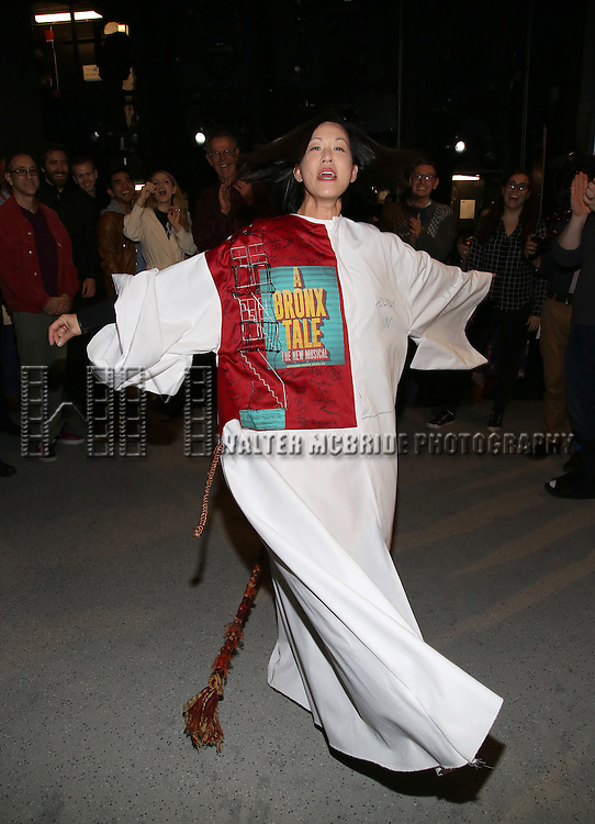 MaryAnn Hu during the Actors' Equity opening night Gypsy Robe Ceremony honoring  MaryAnn Hu for ''Sunday in the Park with George' at the Hudson Theatre on February 23, 2017 in New York City.
