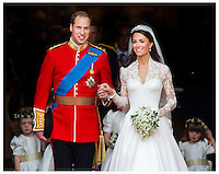 Prince William , The Duke Of Cambridge and  Catherine Middleton , The Duchess Of Cambridge at Westminster Abbey on April 29, 2011 in London, England..Tel: 07515 876520.e mail: info@kisforkate.com