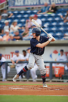 Jacksonville Jumbo Shrimp left fielder Brian Miller (7) at bat during a game against the Pensacola Blue Wahoos on August 15, 2018 at Blue Wahoos Stadium in Pensacola, Florida.  Jacksonville defeated Pensacola 9-2.  (Mike Janes/Four Seam Images)