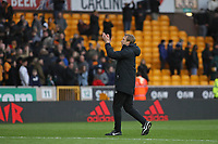 Graham Potter Head Coach of Brighton & Hove Albion applauds the traveling Brighton fans during Wolverhampton Wanderers vs Brighton & Hove Albion, Premier League Football at Molineux on 7th March 2020