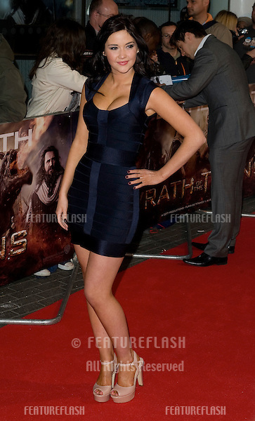"Jacqueline Jossa arrives for premiere of ""Wrath of the Titans"" at the IMAX Cinema, South Bank, London. 29/03/2012 Picture by: Simon Burchell / Featureflash"
