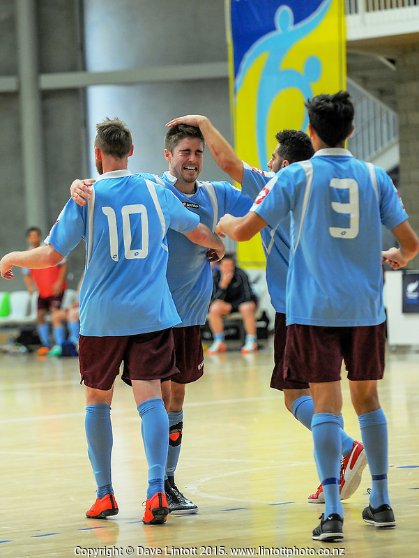 Action from the ASB Futsal National Championship series futsal match between Southern Futsal (maroon, sky blue and white) and Hawke's Bay Futsal (black) at the ASB Sports Centre, Kilbirnie, Wellington, New Zealand on Saturday, 14 November 2015. Photo: Dave Lintott / lintottphoto.co.nz