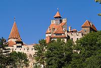 Famous Dracula Castle in the trees located in Transylvania in Bran  Romania