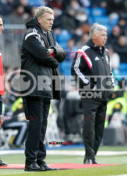 Real Madrid's coach Carlo Ancelotti (r) and Real Sociedad's coach David Moyes during La Liga match.January 31,2015. (ALTERPHOTOS/Acero) /NortePhoto<br />