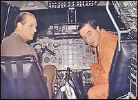BNPS.co.uk (01202 558833)<br /> Pic DominicWinter/BNPS<br /> <br /> Brian in the cockpit with Prince Philip. <br /> <br /> The space age helmet worn by Concorde test pilot Brian Trubshaw on the first ever UK flight has been reunited with the historic Concorde 002 at the Fleet Air Arm Museum in Somerset.<br /> <br /> The 50th anniversary of the flight on 9th April 1969 takes place tomorrow (Tuesday) when the Concorde prototype took off from Filton near Bristol with Trubshaw at the controls.<br /> <br /> The historic helmet was fitted with an oxygen supply in case of an depressurisation of the supersonic aircraft during testing and has been loaned to the museum by a collector.