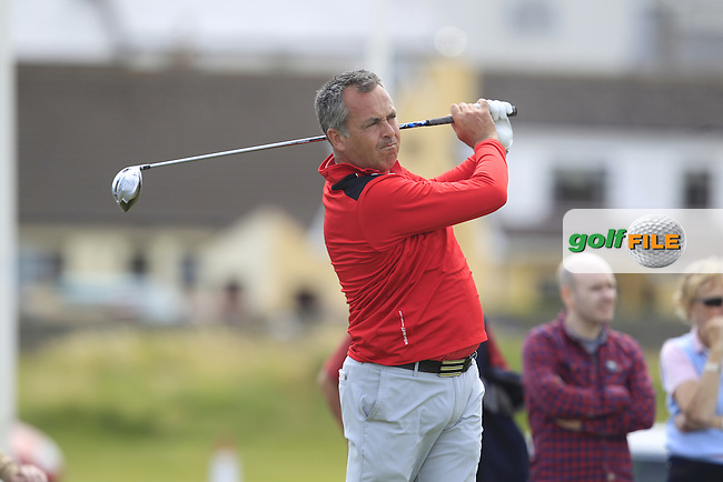 Pat Murray (Limerick) on the 1st tee during Matchplay Round 4 of the South of Ireland Amateur Open Championship at LaHinch Golf Club on Saturday 25th July 2015.<br /> Picture:  Golffile   TJ Caffrey