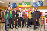 Weeshie Lynch, Killian Young, Jim Garvey, Kieran Donaghy, Tomas Garvey, Marc O'Se and Patrick Curtin, Tim Moynihan and Ger Galvin pictured at the launch of the Kerry Senior Football Championship sponsored by Garveys Supervalu at Garveys Rock Street Tralee on Monday.