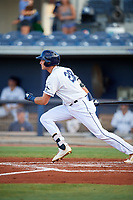 Charlotte Stone Crabs center fielder Josh Lowe (28) follows through on a swing during a game against the Bradenton Marauders on August 6, 2018 at Charlotte Sports Park in Port Charlotte, Florida.  Charlotte defeated Bradenton 2-1.  (Mike Janes/Four Seam Images)