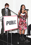 Oskar Eustis and Suzan-Lori Parks attending the Unveiling of the Revitalized Public Theater at Astor Place in New York City on 10/4/2012.