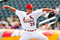 Kevin Thomas (35) of the Springfield Cardinals delivers a pitch during a game against the Midland RockHounds on April 19, 2011 at Hammons Field in Springfield, Missouri.  Photo By David Welker/Four Seam Images