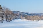 Frozen water, Ottaquechee River, Quechee village, Hartford, VT, USA
