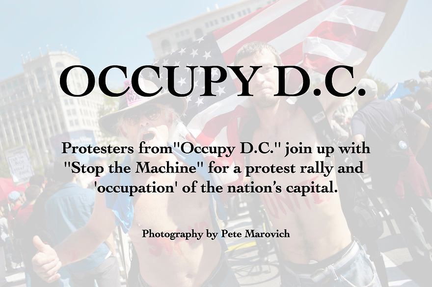 "Protesters with ""Occupy D.C."" joined up with ""Stop the Machine"" for a protest rally and ""occupation"" of Freedom Plaza in Washington, D.C. on Thursday. ..Protesting against corporate greed, bad political leaders and a widening gap between the poot and the rich, vowed to stay indefinitely. The groups only have Park Service permits through Sunday."