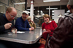 "(l-r) Keith, Mark, Timmy, Sheila and Ben stop for ice cream at a McDonald's after an evening of bowling. Of the new living arrangement for his three former residents, Curt Brown says ""they were like family already, so they were just kind of moving into the next level and being freed up of the other fellows' behaviors."""
