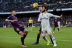 FC Barcelona's Jordi Alba (L) and Sergio Busquets (R) and Real Madrid's Francisco Alarcon 'Isco' during La Liga match between FC Barcelona and Real Madrid at Camp Nou Stadium in Barcelona, Spain. October 28, 2018. (ALTERPHOTOS/A. Perez Meca)