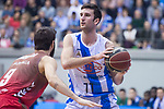 San Pablo Burgos Alex Barrera and Gipuzkoa Basket Joan Pardina during Liga Endesa match between San Pablo Burgos and Gipuzkoa Basket at Coliseum Burgos in Burgos, Spain. December 30, 2017. (ALTERPHOTOS/Borja B.Hojas)