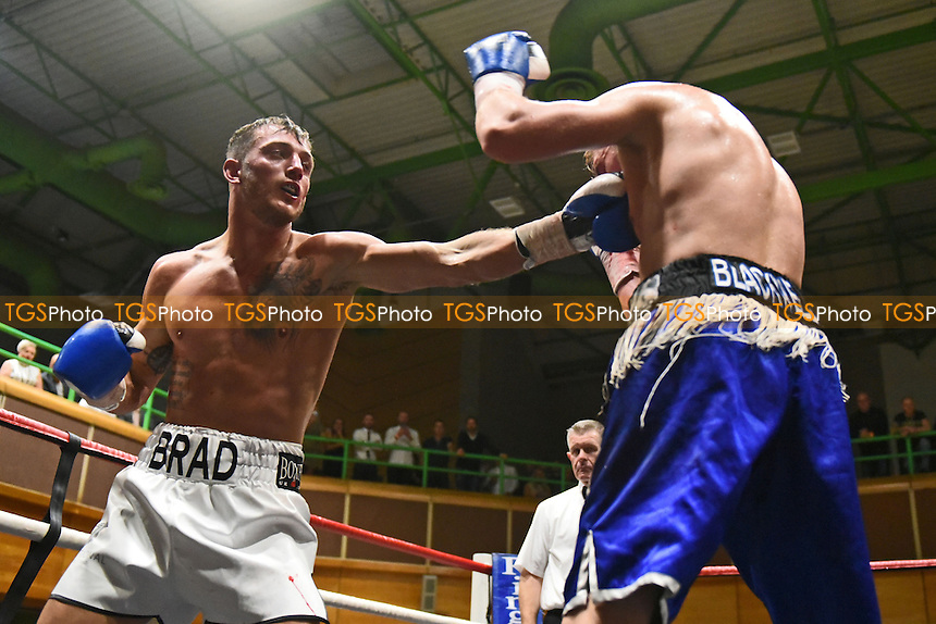 Brad Pauls (white shorts) defeats Dan Blackwell during a Boxing Show at the Riviera International Centre on 22nd October 2016