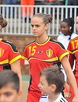 20131011 - SCHWEINFURT , GERMANY :  Belgian Amber Maximus pictured during the female soccer match between Belgium Women U17 and The Netherlands U17 , in the first game of the Elite round in group6 in the UEFA European Women's Under 17 competition 2013 in the Willy Sachs Stadium - Schweinfurt. Friday 11 October 2013. PHOTO DAVID CATRY