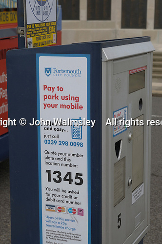 Ticket machine where you book time through a mobile phone, Esplanade car park, Portsmouth, Hampshire.
