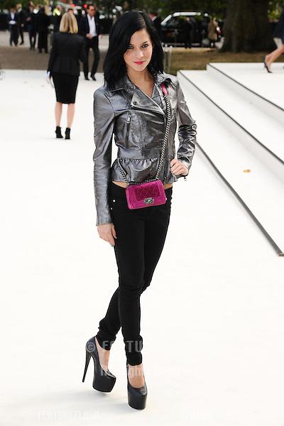 DJ, Leigh Lezark arriving for the Burberry Prorsum catwalk show as part of London Fashion Week SS13, Kensington Gardens, London. 17/09/2012 Picture by: Steve Vas / Featureflash