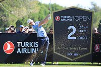 Justin Rose (ENG) in action during the first round of the Turkish Airlines Open played at the Montgomerie Maxx Royal Golf Club, Belek, Turkey. 07/11/2019<br /> Picture: Golffile | Phil INGLIS<br /> <br /> <br /> All photo usage must carry mandatory copyright credit (© Golffile | Phil INGLIS)